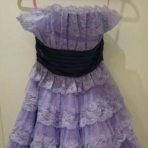Betsey Johnson Purple  Strapless Lace Dress Size 2